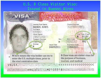 US B Class Visitor Visa