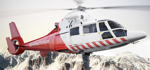Air ambulance in mountains