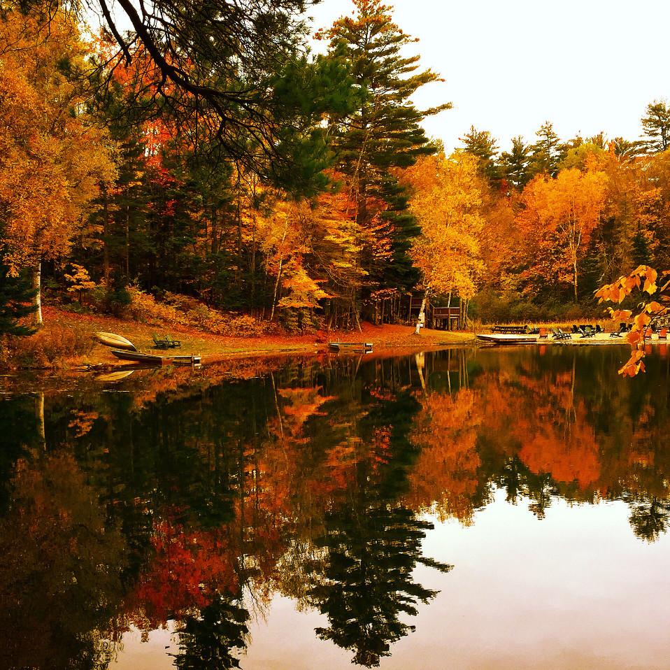 Fall Foliage at Adirondack Lake in New York