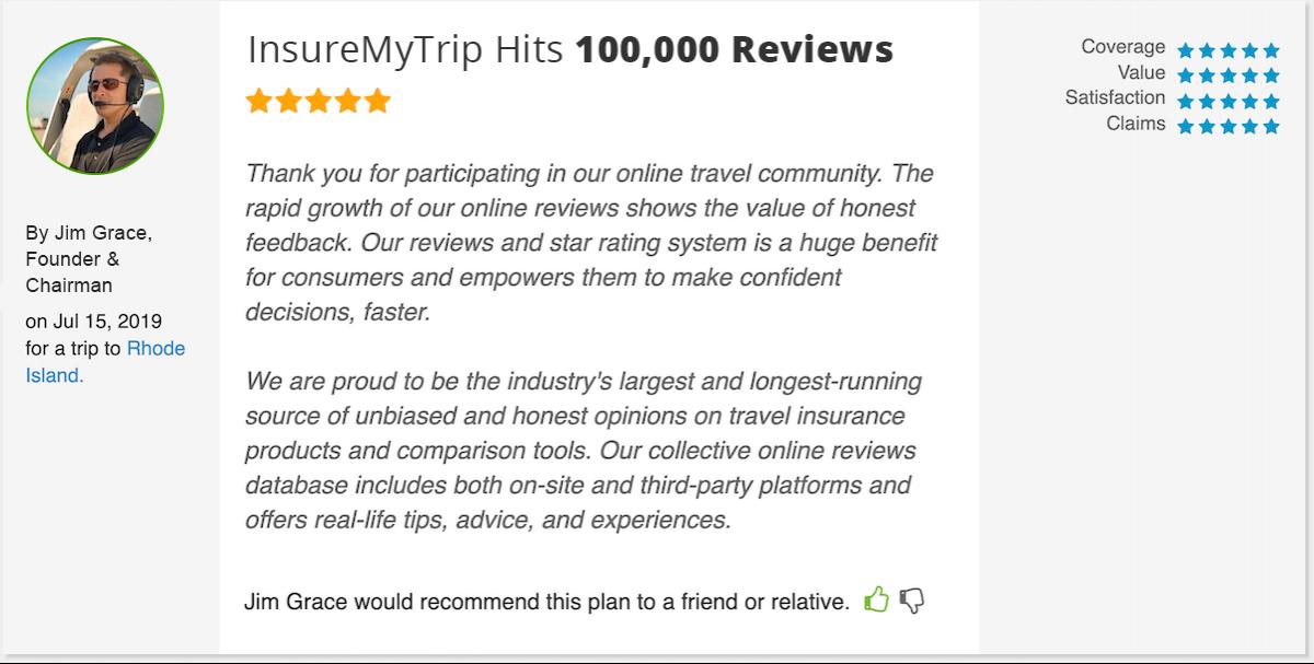 InsureMyTrip Hits 100,000 Travel Insurance Reviews