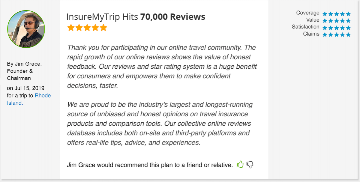 InsureMyTrip Hits 70,000 Travel Insurance Reviews