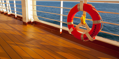 Cruise Ship Deck with Emergency Life Saver