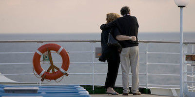 Couple Looking at Sunset on Cruise