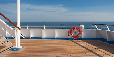 Deck of Cruise Ship on Sunny Day