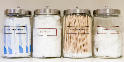 Jars Labeled with Medical Supplies Used in Doctor's Office