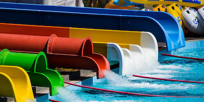 Water Slides Emptying into Pool