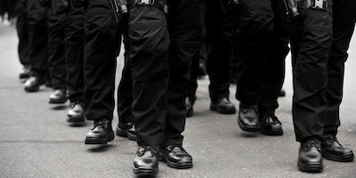 Lines of Officers with Leg Holsters